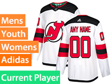Mens Women Youth Adidas New Jersey Devils White Away Current Player Jersey