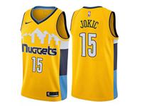 Mens 2017-18 Season Nba Denver Nuggets #15 Nikola Jokic Snow Mountain Yellow Nike Jersey