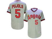 Mens Mlb Los Angeles Angels #5 Pujols Gray Throwbacks Flex Base Jersey