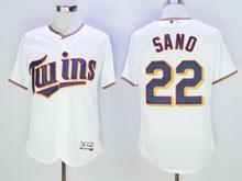 Mens Majestic Minnesota Twins #22 Miguel Sano White Flex Base Jersey