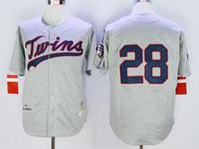Mens Mlb Minnesota Twins #28 Blyleven Gray ( No Name) Throwback Jersey