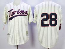 Mens Mlb Minnesota Twins #28 Blyleven Cream Blue Stripe ( No Name) Throwback Jersey