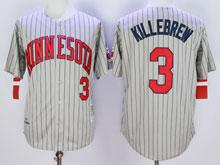 Mens Mlb Minnesota Twins #3 Killebrew Gray Blue Stripe Throwback Jersey