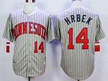 Mens Mlb Minnesota Twins #14 Hrbek Gray Blue Stripe Throwback Jersey