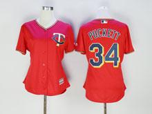 Women Mlb Minnesota Twins #34 Kirby Puckett Red Cool Base Jersey