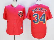 Mens Mlb Minnesota Twins #34 Kirby Puckett Red Cool Base Jersey