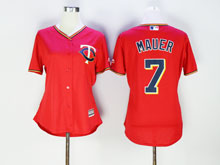 Women Mlb Minnesota Twins #7 Joe Mauer Red Cool Base Jersey