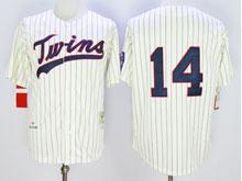 Mens Mlb Minnesota Twins #14 Hrbek Cream Blue Stripe ( No Name) Throwback Jersey