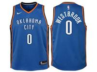 Youth Nba Oklahoma City Thunder #0 Russell Westbrook Blue Nike Swingman Jersey