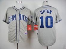 Mens Mlb San Diego Padres #10 Upton Gray Cool Base Jersey