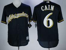 Mens Mlb Milwaukee Brewers #6 Cain Blue Cool Base Baseball Jersey