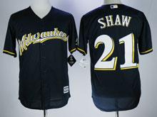 Mens Mlb Milwaukee Brewers #21 Travis Shaw Blue Cool Base Baseball Jersey