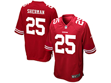 Mens Womens Youth San Francisco 49ers #25 Richard Sherman Red Nike Game Jersey