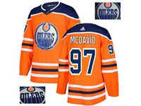 Mens Adidas Nhl Edmonton Oilers #97 Mcdavid Orange Fashion Gold Lace Embroidery Jersey