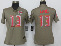 Women Nfl Tampa Bay Buccaneers #13 Mike Evans Green Olive Salute To Service Elite Nike Jersey