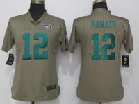 Women Nfl New York Jet #12 Joe Namath Green Olive Salute To Service Elite Nike Jersey