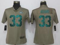 Women Nfl New York Jet #33 Jamal Adams Green Olive Salute To Service Elite Nike Jersey