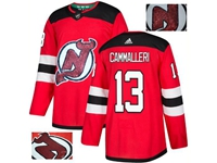 Mens Adidas Nhl New Jersey Devils #13 Cammalleri Red Fashion Gold Lace Embroidery Jersey