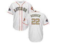 Mens Mlb Houston Astros #22 Josh Reddick White 2018 Gold Program Cool Base Player Jersey