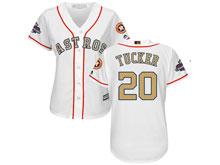 Women Mlb Houston Astros #20 Preston Tucker White 2018 Gold Program Cool Base Player Jersey