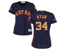 Women Mlb Houston Astros #34 Nolan Ryan Navy 2018 Gold Program Cool Base Player Jersey