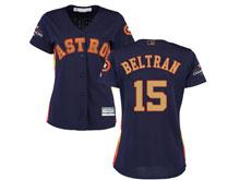Women Mlb Houston Astros #15 Carlos Beltran Navy 2018 Gold Program Cool Base Player Jersey