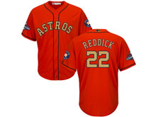 Mens Mlb Houston Astros #22 Josh Reddick Orange 2018 Gold Program Cool Base Player Jersey