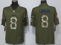 Mens Nfl Minnesota Vikings #8 Kirk Cousins Green Salute To Service Nike Limited Jersey