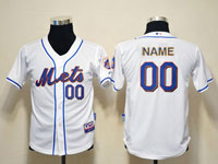Mens Womens Youth Mlb New York Mets Custom Made Full White Cool Base Jersey