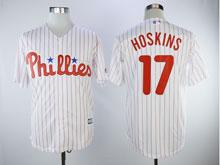 Mens Majestic Philadelphia Phillies #17 Rhys Hoskins White Stripe Cool Base Player Jersey
