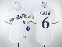Mens Majestic Mlb Milwaukee Brewers #6 Cain White Flex Base Jersey