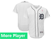 Mens Detroit Tigers Majestic White 2018 Mother's Day Home Flex Base Team Jersey