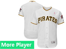 Mens Pittsburgh Pirates Majestic White 2018 Mother's Day Home Flex Base Team Jersey