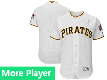 Mens Majestic Pittsburgh Pirates White 2018 Mother's Day Home Flex Base Team Jersey