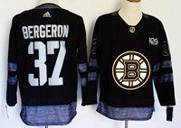 Mens Nhl Boston Bruins #37 Patrice Bergeron 100th Anniversary Black Adidas Jersey