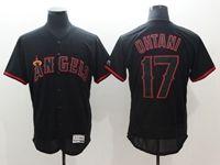 Mens Mlb Los Angeles Angels #17 Shohei Ohtani Black Pullover Flex Base Jersey