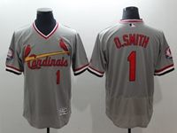 Mens Mlb St.louis Cardinals #1 O.smith Gray Pullover Throwbacks Flex Base Jersey
