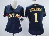 Women Mlb Houston Astros #1 Carlos Correa Navy Blue Champion Cool Base Jersey