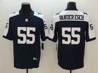 Mens Dallas Cowboys  #55 Leighton Vander Esch Blue Thanksgiving Vapor Untouchable Limited Jersey