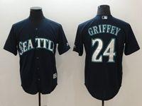 Mens Mlb Seattle Mariners #24 Ken Griffey Jr Navy Blue Cool Base Jersey
