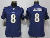 Women Nfl Baltimore Ravens #8 Lamar Jackson Purple Vapor Untouchable Elite Player Nike Jersey
