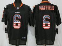 Mens Nfl Chicago Bears #6 Baker Mayfield Black Usa Flag Fashion Elite Nike Jerseys