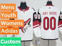 Mens Women Youth Adidas Arizona Coyotes Custom Made White Away Jersey