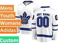 Mens Women Youth Nhl Toronto Maple Leafs (custom Made) White Away Hockey Adidas Jersey