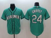 Mens Mlb Seattle Mariners #24 Ken Griffey Jr Green Cool Base Jersey