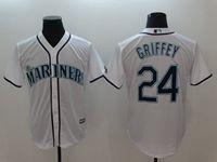 Mens Mlb Seattle Mariners #24 Ken Griffey Jr White Cool Base Jersey