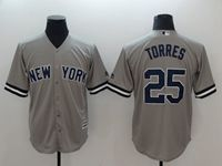 Mens Mlb New York Yankees #25 Gleyber Torres Gray Cool Base Jersey