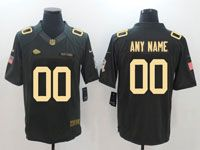 Mens Nfl Kansas City Chiefs Custom Made Black Gold Number Salute To Service Jersey