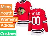 Mens Women Youth Nhl Chicago Blackhawks Custom Made Red Adidas Jersey