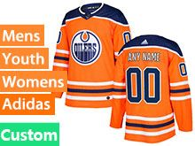 Mens Women Youth Adidas Nhl Edmonton Oilers Custom Made Orange Jersey